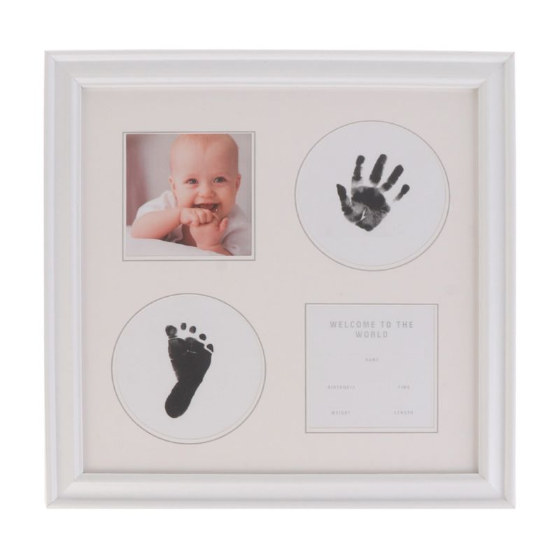 Newborn Baby Handprint And Footprint Ink Pad Wood Picture Frame For Baby And Pet U50F