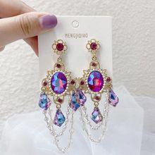 Moda vintage coréia exagerada brincos de gota de cristal para mulher brilhante pendientes mujer moda elegante balançar brincos de declaração