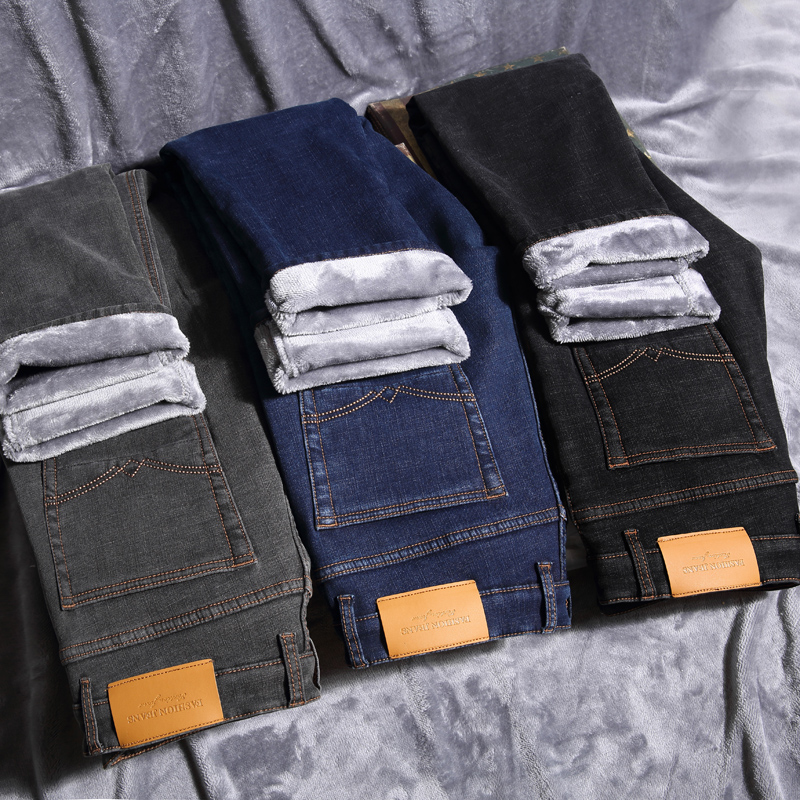 Winter Men's Warm Jeans 2019 New Classic Style Business Casual Thicken Elastic Denim Pants Male Brand Trousers Blue Black Gray