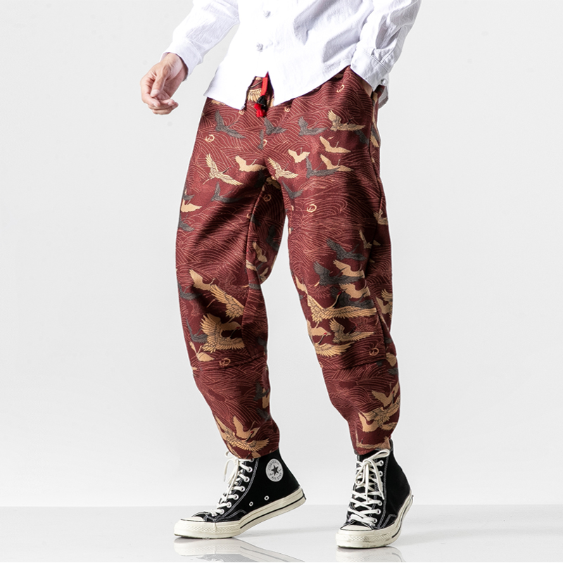 MRDONOO Casual Camouflage Trousers Harem Pants Men's Loose Large Size Drawstring Pants Streetwear