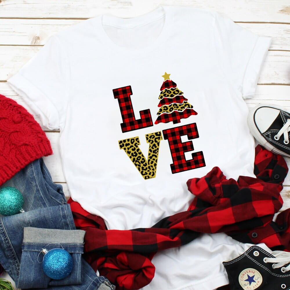 Милая цветная Рождественская футболка из 100% хлопка с графическим принтом; Новое поступление; Рождественская рубашка; Рождественский подар...
