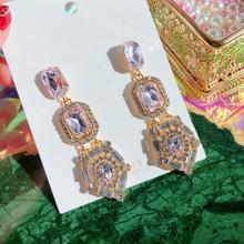 Модные корейские квадратные висячие серьги с розовыми кристаллами