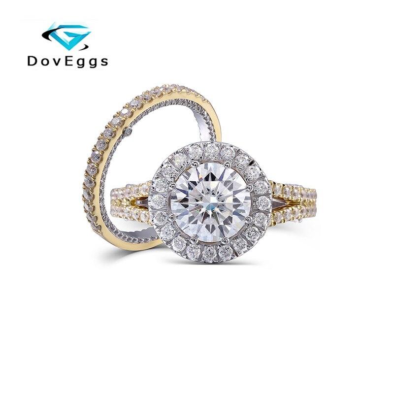 DovEggs 14K 585 deux tons or 2ct Center 8mm F couleur ronde brillant laboratoire cultivé Moissanite diamant bague de fiançailles ensemble pour les femmes