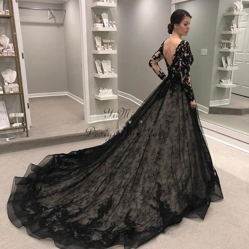 Black Gothic Wedding Dresses 2019 Long Sleeve V Neck Sweep Train Lace Illusion Bodice Garden Country Bridal Gowns