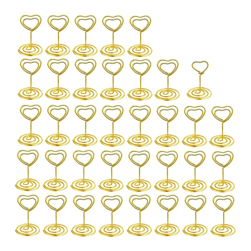 36 Pieces Heart Style Place Card Holder Table Number Holder Picture Clamps Menu Memo Clips For Restaurants Wedding Party