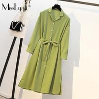 XL 4XL Plus Size Women Green Elegant Dress Autumn 2019 Fashion Turn down Collar Long Sleeve Loose Casual Ladies Shirt Dresses