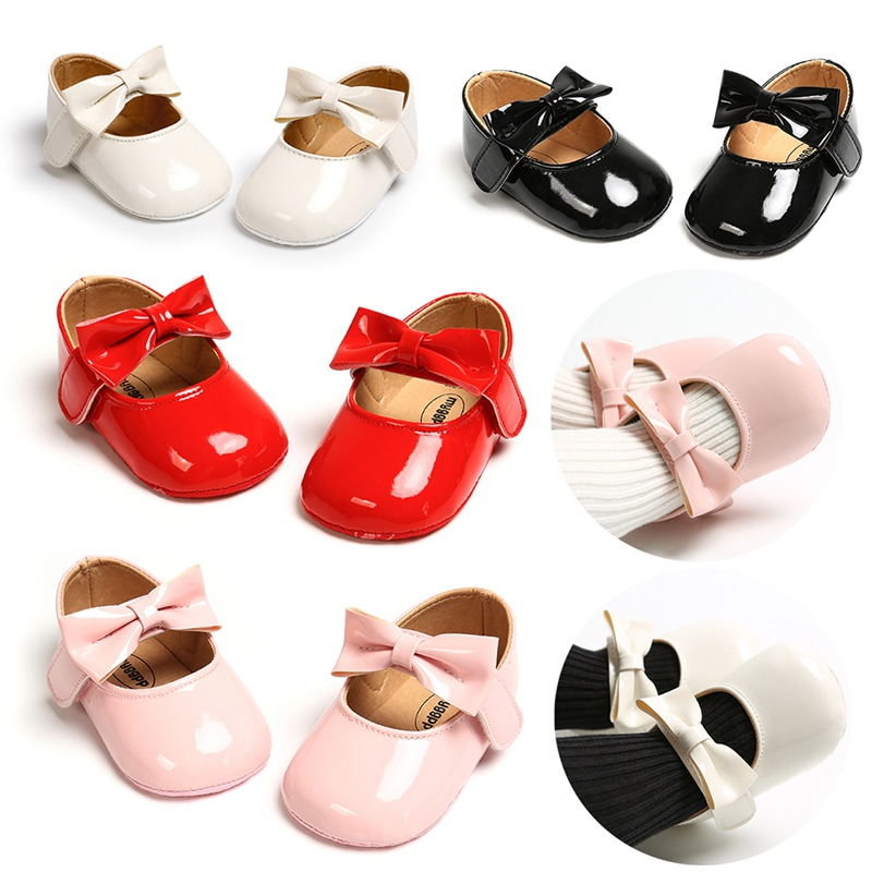 Baby Moccasins PU Leather Solid Bowknot Party Babys Shoes Girl Footwear For Newborns White Pink Red 0-18 Months