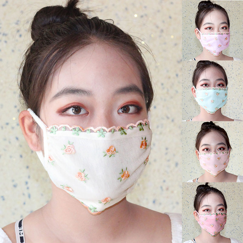 Dust Proof Mask Women's Pink Blue White Floral Print Sunscreen Lace Mask Lady's Breathable Embroidery Mouth-muffle Masks Elegant