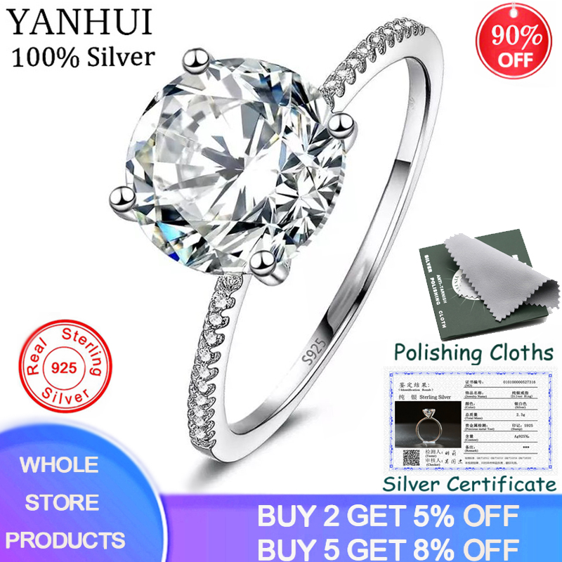 YANHUI Fine Jewelry Have Certificate Real 925 Sterling Silver Ring Luxury 3ct Zircon Bride Wedding Rings For Women Dropshipping
