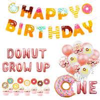 Donut Party Dekoration Luftballons Glücklich Geburtstag Banner Kinder Baby Dusche Baby 1st Geburtstag Party Decor Donut Wand Stehen Halter