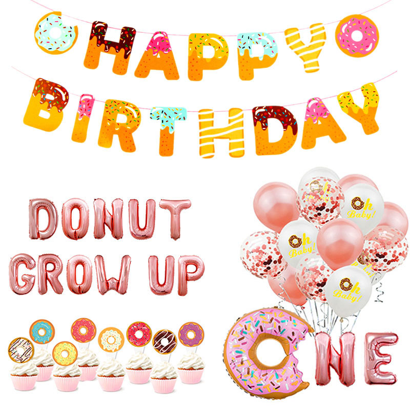 Donut Party Decoration Balloons Happy Birthday Banner Kids Baby Shower Baby 1st Birthday Party Decor Donut Wall Stand Holder