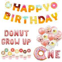 Donut Party Decoration Balloons Happy Birthday Banner Kids Baby Shower 1st Decor Wall Stand Holder