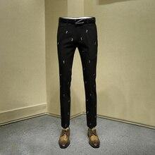 Мужские длинные официальные брюки для молодых мужчин, черные брюки с вышивкой, брюки для офиса, мужские брюки, облегающие брюки для мужчин размера плюс 36