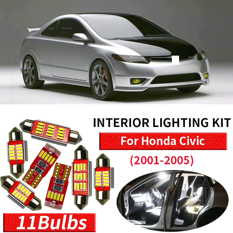 Bright SMD Fits Honda Civic 8th Gen BLUE Premium Interior LED Kit