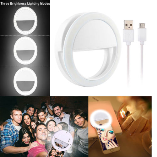 USB Phone Selfie Ring Lamp Chargeable Round Portable Photography Light Ring Three Mode Dimmable Selfie LED Photo Light Universal