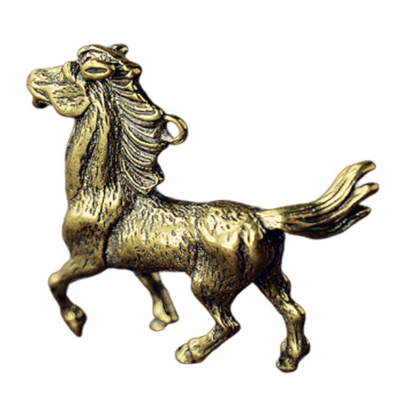 3D Horse Casting Animal Mini Figurine Retro Style Metal Sculpture Home Office Room Desktop Decoration Collect Ornaments Gift