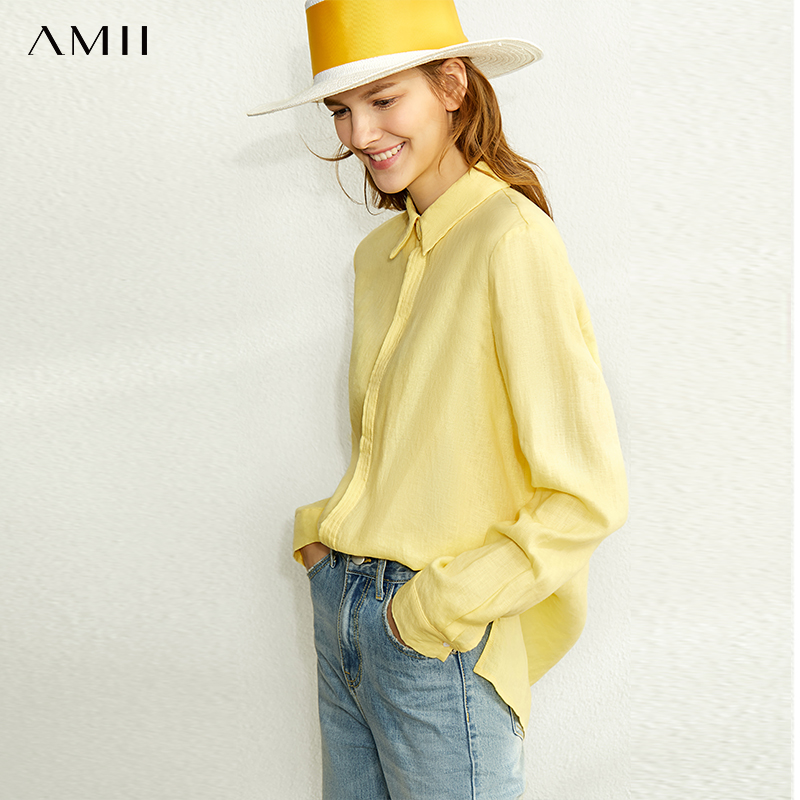 AMII Minimalism Spring Linen Solid Shirt Women Causal Lapel Single-breasted Loose Shirt Tops 12020024