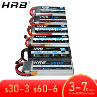 HRB batería Lipo 2S 3S 4S 6S 1500mah 2200mah 2600mah 5000mah 6000mah 7000mah 4000mah 7,4 V 11,1 V 14,8 V 22,2 V T XT60 piezas de control remoto