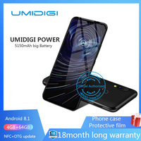 "Umidigi power 6.3"" 4GB 64 ROM Mobile phone Octa Core Android 9.0 16MP+16MP Cell phone NFC 4g 5150mAh unlocked smartphone gsm