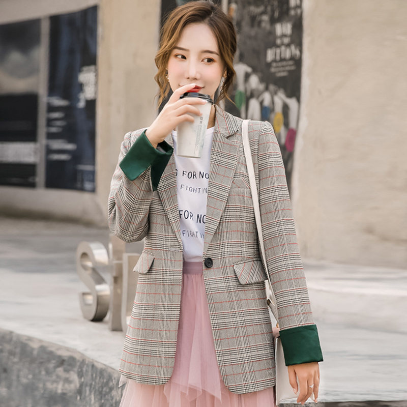 Fashion Women's Jacket High Quality Office Suit Female Casual Vintage Slim Large Size Plaid Blazer 2019 Autumn Women's Clothing