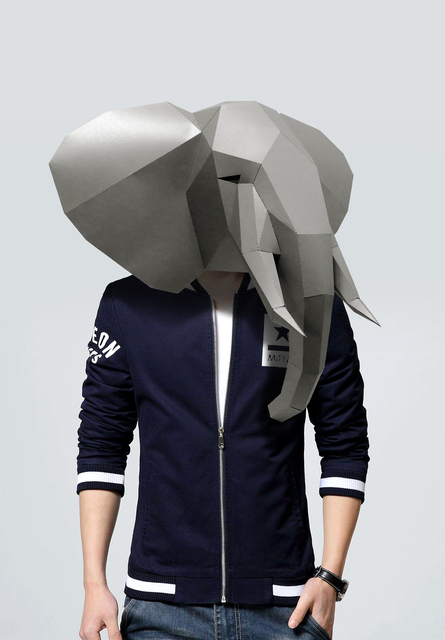 Paper Mask 3d Animal Elephant Costume Cosplay DIY Paper Craft Model Mask Christmas Halloween Prom Party Gift 4