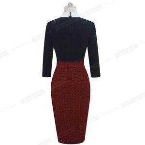 Image 2 - Женское лоскутное Деловое платье Nice forever, элегантное и облегающее платье контрастных цветов для офиса и вечерние, модель B568, 2019