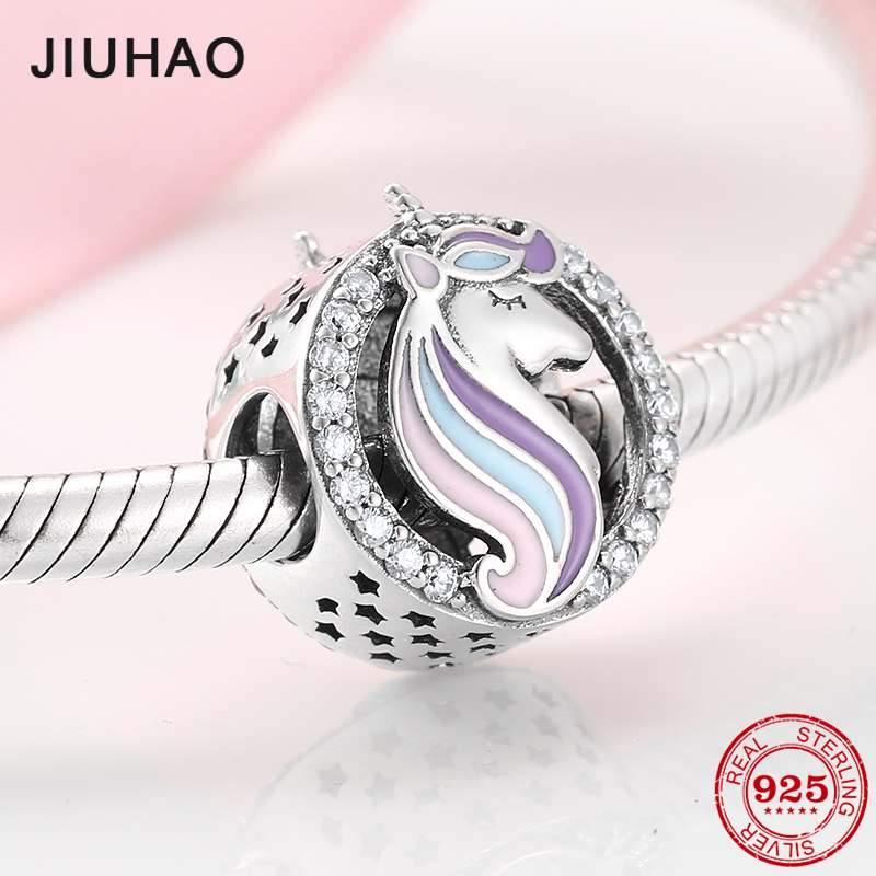 Fashion 925 Sterling Silver Patron saint Unicorn Beads charm Fit Original Charms Pandora Bracelet Jewelry making(China)