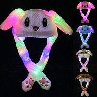 Mode Niedlichen Kaninchen Warme Hut Kann Emittieren Licht Leuchtende Bunte Beweglichen Ohren Plüsch Licht Unisex Kinder Wrap Warm Hut Kappe