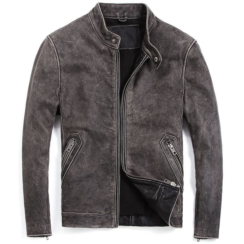 England Style Flight Mens Genuine Leather Jacket Coats Oversized 5XL Biker Mans Real Leather Coats Automotive Streetwear A601