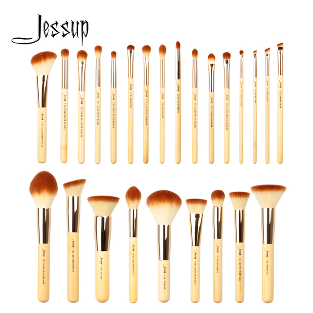 Jessup Makeup Brushes Set Bamboo Foundation Powder Eyeliner Bronzer Sculpting brush pincel maquiagem Professional Cosmetic Tool