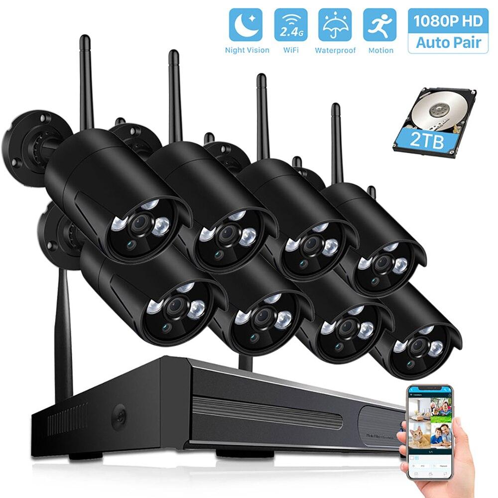 Système de vidéosurveillance extérieur étanche 4CH/8CH sans fil 1080P H.265 NVR 2.0MP Wifi système de caméra de sécurité Kit de Surveillance de Vision nocturne