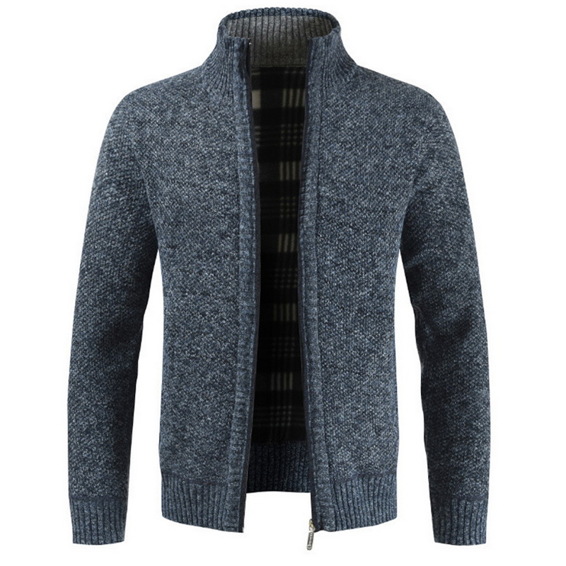 Cardigan Male Casual Slim Full Zip Thick Knitted Men's Sweaters With Pockets Autumn Fashion Thick Slim Keep Warm Men's Cardigan(China)