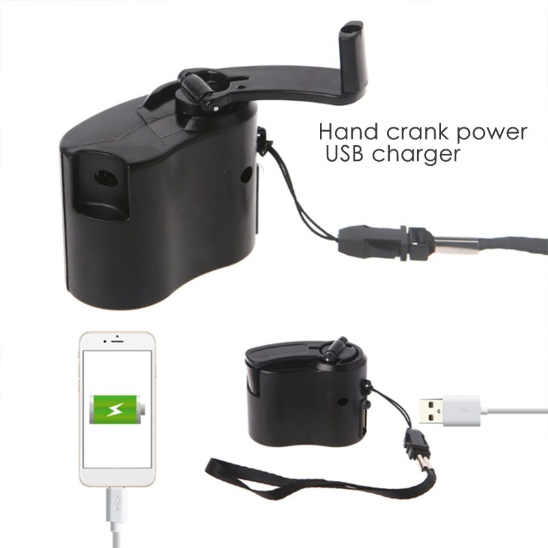 Hand Crank Charger Hand Crank Charging Clockwise Rotation ABS Survival Gear Hiking Hand Power Dynamo Travel Backpack Camping