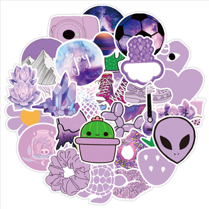 Custom Stickers Laptop Stickers Planner Stickers Purple Girls Stickers Sticker Pack Vinyl Stickers 50pcs Cool Mixed Stickers
