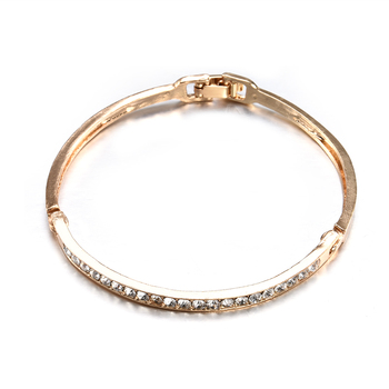Fashion Gold Stainless Steel White Rhinestone Crystal Bracelet Women Wedding Party Cuff Bangle Bracelet Jewelry 5