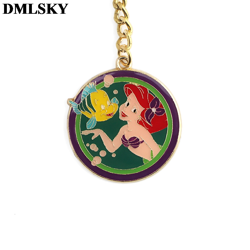DMLSKY Fashion Mermaid alloy Key Chains Ring Gift For Women Girl Bag Charm Keychain Charm Keyring Jewelry M3802 in Key Chains from Jewelry Accessories