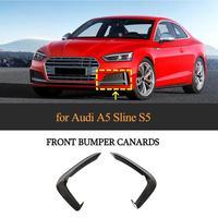 S5 Front Bumper Fog Lamp Cover Trim For Audi A5 Sline S5 2017   2019 One Pair Front Fins Canards Blades Carbon Fiber / FRP Black|Bumpers| |  -