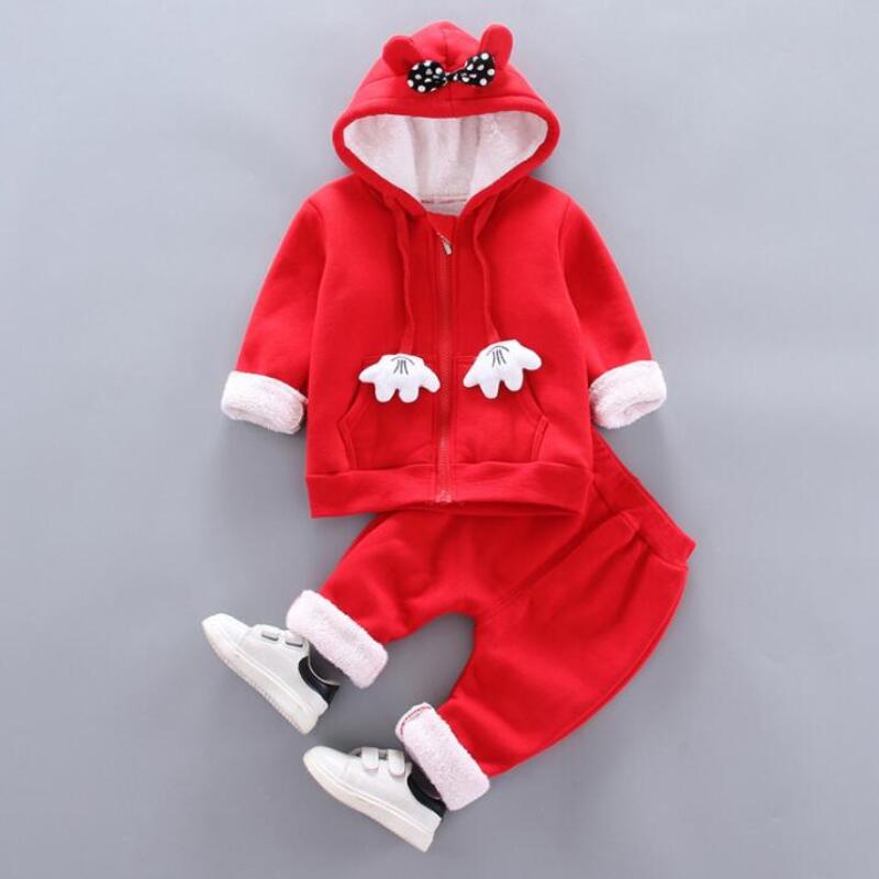 Thick Warm Girls Clothing Set Winter Plush Cotton Outfit For Baby Hoodies Jacket Pants Kids Casual Suit Toddler Boy Wearing 5