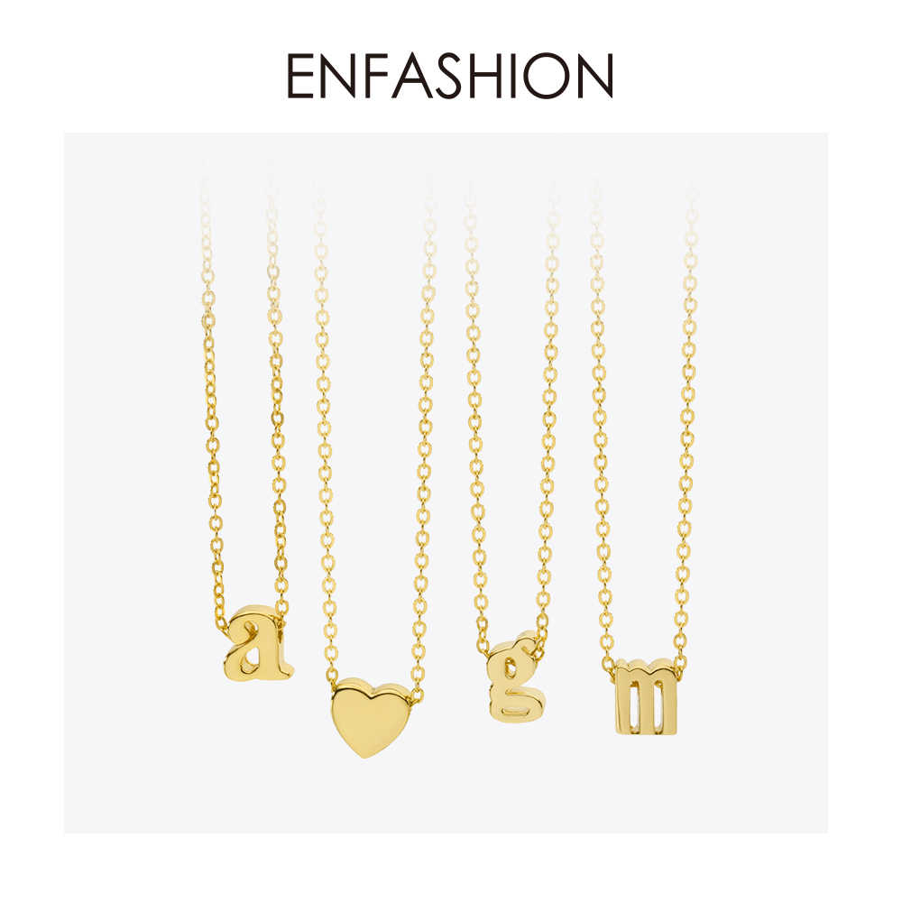 Enfashion Small Letter Necklaces Pendants Alphabet Initial Necklace Gold Color Choker Necklace For Women Jewelry Kolye Collier