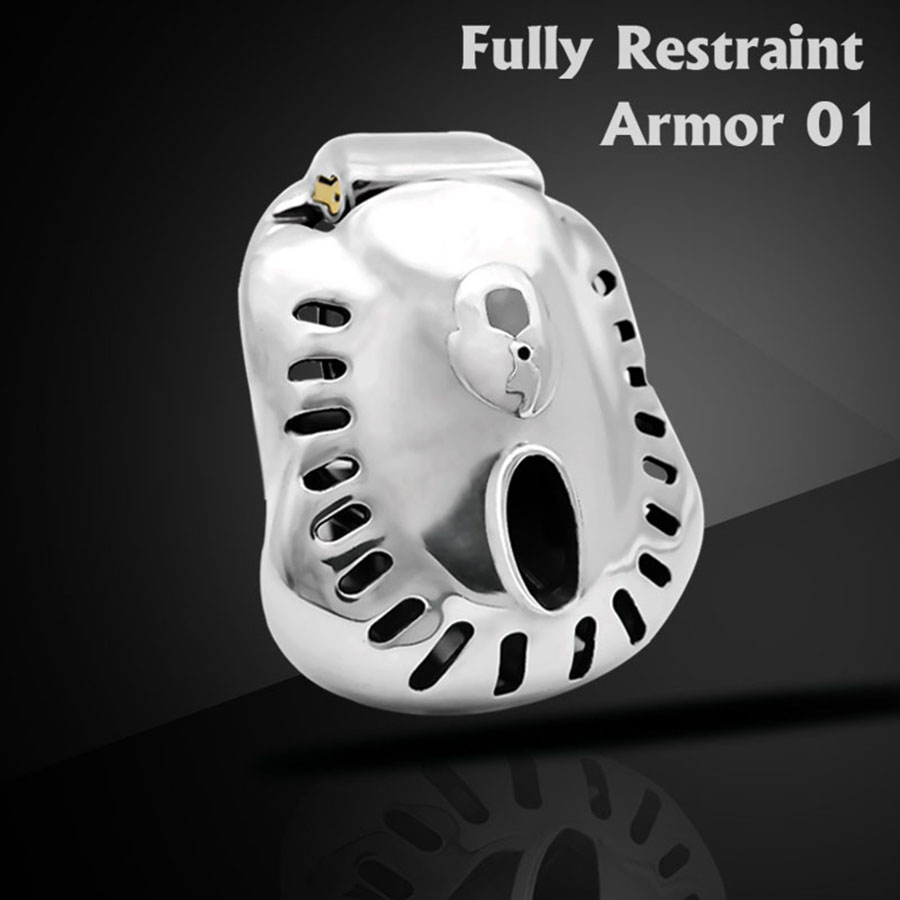 2020 Stainless Steel Male Chastity Device Cock Cage Fully Restraint Bowl Penis Lock Sleeve Sex Toys For Men Penis Ring ARMOR 01