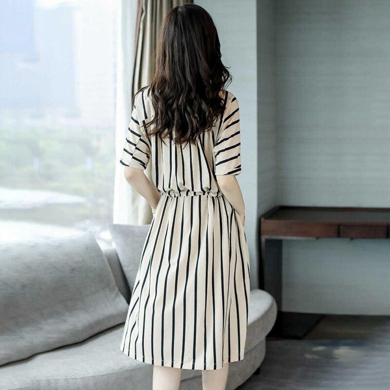Женское Полосатое платье, летнее повседневное пляжное платье с коротким рукавом и эластичной резинкой на талии, Vestidos, большие размеры