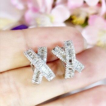 Pendientes de lazo bonitos de plata 925 de estilo coreano, pendientes de cristal circón de lujo con Micro pavé dulce, anillos para mujer