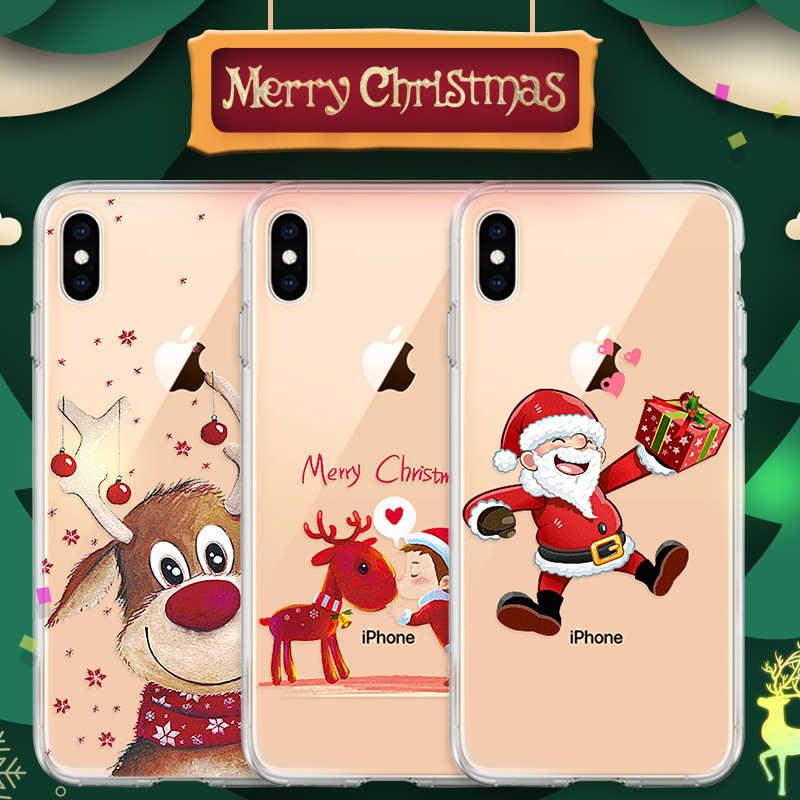 Feliz natal caso de telefone para iphone xr xs max x 8 7 6s mais 10 dos desenhos animados papai noel elk tpu capa para iphone 11 2019 casais