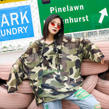 цена на Women Anti-UV Quick Dry Outdoor Camouflage Hooded Jacket Beach Sun Protection Long Sleeve Hoodie Coat Breathable Thin Summer