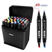 TouchFive 40 Colors Multicolour Dual Tip Fine Liner Art Marker Pens Drawing Painting Markers Pen Brush School Supplies Markerpen