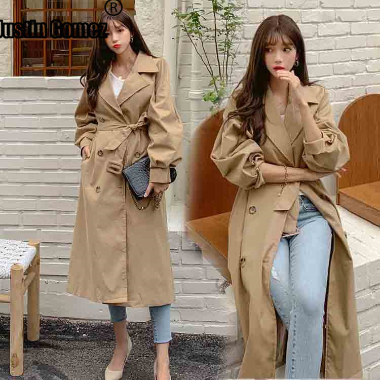 Korean Version Stylish Elegant Ladies Windbreaker Double-breasted Windproof   Trench   Coat for Women Fashion Solid Outwear   Trench