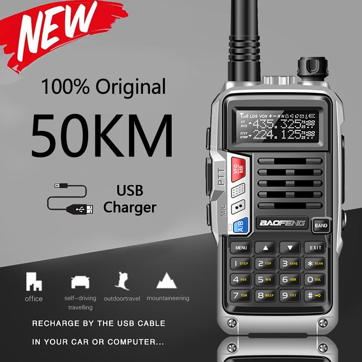 Baofeng New Professional Walkie Talkie UV-S9 PLUS 50km 128 Channels VHF UHF Dual Band Two Way CB Ham Radio Upgrade For UV-5R