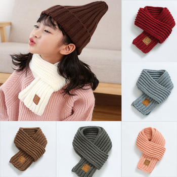 1Pcs Children Knitted Scarf Wool Warm Thicken Scarf Autumn Winter Pure Color Ring Neck Scarves for Boys Girls pure color knitted infinity scarf