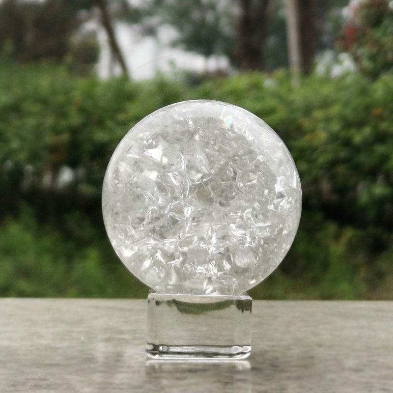 5/6cm Crystal Glass Ice Crack Ball Quartz Marbles Magic Sphere Fengshui Ornaments Rocky Water Fountain Bonsai Ball Home Decor
