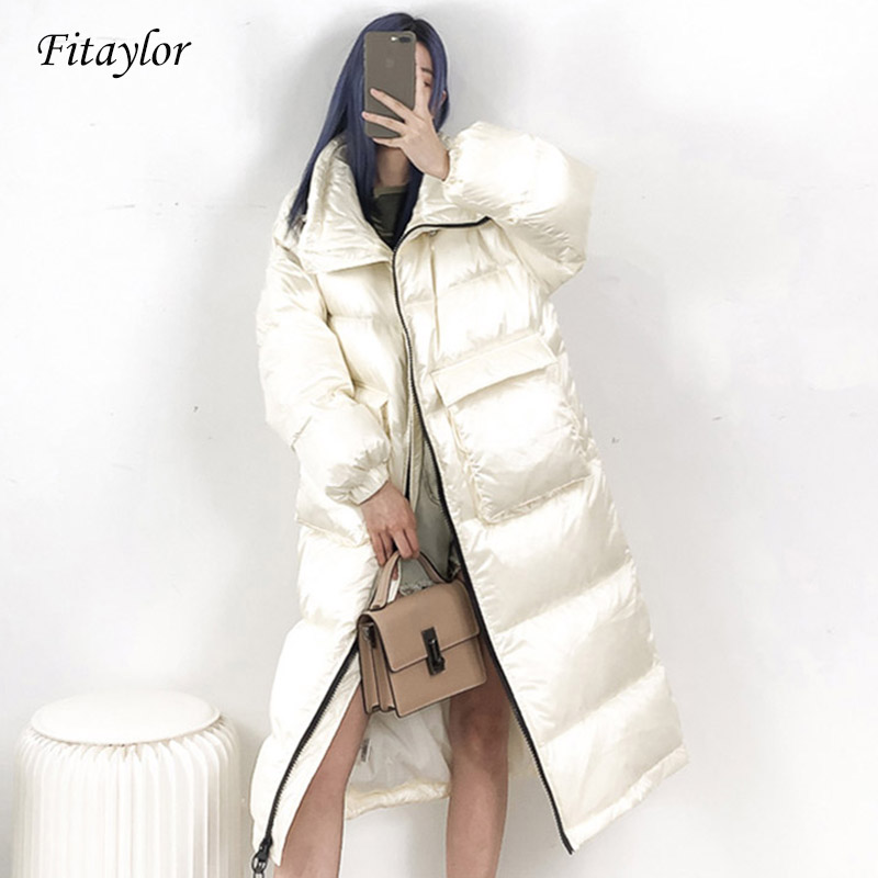 Fitaylor 2020 New Winter Coat Women 90% White Duck Down Jacket Thick Long Down Parka Winter Jacket Women Female Loose Warm Coat